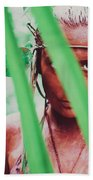 Amazonian Goddess Portrait Of A Wild Looking, Camouflaged Warrior Girl Holding Bow And Arrow Beach Towel
