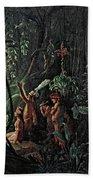 Amazonian Indians Worshiping The Sun God Beach Towel