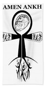 Amen Ankh Bw Beach Towel