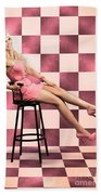 American Culture Pin Up Girl Inside 60s Retro Diner Beach Towel