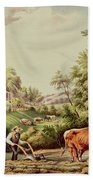 American Farm Scenes Beach Towel by Currier and Ives