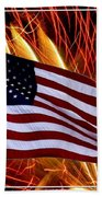 American Flag And Fireworks Beach Towel
