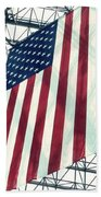 American Flag In Kennedy Library Atrium - 1982 Beach Towel
