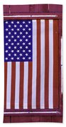 American Flag In Red Window Beach Towel