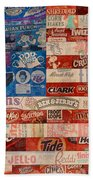 American Flag - Made From Vintage Recycled Pop Culture Usa Paper Product Wrappers Beach Sheet