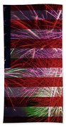 American Flag With Fireworks Display Beach Sheet