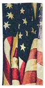 American Flags Painted Square Format Beach Towel