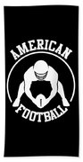 American Football Player With Ball And Helmet Beach Towel