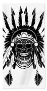 American Indian Skull Icon Background, Black And White  Beach Towel