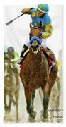 American Pharoah And Victor Espinoza Win The 2015 Preakness Stakes. Beach Towel