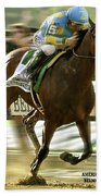 American Pharoah And Victory Espinoza Win The 2015 Belmont Stakes Beach Towel