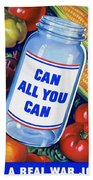 American Propaganda Poster Promoting Canned Food Beach Towel