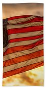 American Sunset On Fire Beach Towel