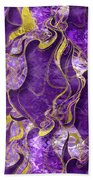 Amethyst  With Gold Marbled Texture Beach Towel
