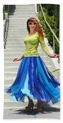 Ameynra Fashion. Petal Skirt. Model Sofia Beach Towel