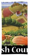 Amish Country T Shirt - Appalachian Pumpkin Patch Country Farm Landscape 2 Beach Towel