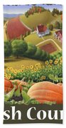 Amish Country T Shirt - Pumpkin Patch Country Farm Landscape 2 Beach Towel