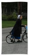 Amish Girl Going To Work Beach Towel