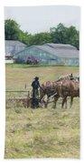 Amish Girl Raking Hay As Painting Beach Towel