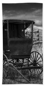 Amish Horse Buggy In Black And White Beach Towel