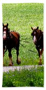 Amish Horse Team Beach Towel