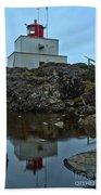 Amphitrite Point Lighthouse Reflections Beach Towel