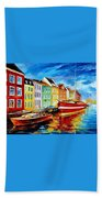 Amsterdam-city Dock - Palette Knife Oil Painting On Canvas By Leonid Afremov Beach Towel