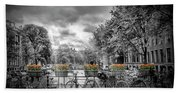 Amsterdam Gentlemens Canal Typical Cityscape Beach Towel