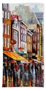 Amsterdam Rain - Palette Knife Oil Painting On Canvas By Leonid Afremov Beach Towel