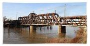Amtrak California Crossing The Old Sacramento Southern Pacific Train Bridge . 7d11674 Beach Towel
