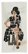 Amy Winehouse Typography Art Beach Towel