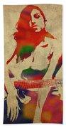Amy Winehouse Watercolor Portrait Beach Towel