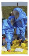 An Airman And A Soldier Jump Into A Tub Beach Towel by Stocktrek Images