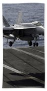 An Fa-18e Super Hornet Prepares To Land Beach Towel by Stocktrek Images