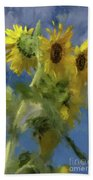 An Impression Of Sunflowers In The Sun Beach Towel