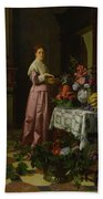 An Interior With Fruit And Flowers Beach Towel