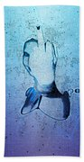 An Obscene Hand Sign Beach Towel