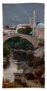 An Old Bridge In Mostar Beach Sheet