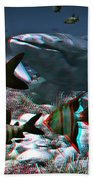 Anaglyph Whales Beach Towel