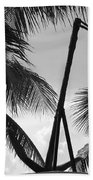 Anchor In Black And White Beach Towel