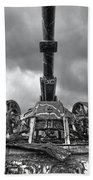 Ancient Cannon In Black And White Beach Towel