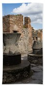 Ancient Pompeii - Bakery Of Modestus Millstones And Bread Oven Beach Towel