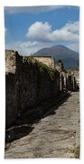Ancient Pompeii - Empty Street And Mount Vesuvius Volcano That Caused It All Beach Towel