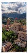 Ancient Village Of Sarnano Italy, Marche, Macerata - Aerial View Beach Towel