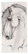 Andalusian Horse Portrait 2015 12 08 Beach Towel