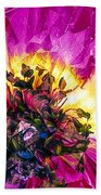 Anemone Abstracted In Fuchsia Beach Towel
