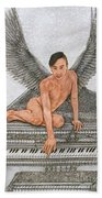 Angel And The Piano Drawing Hnad-drawn Beach Towel