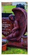 Angel Guarding Grave Hvalsneskirkja Graveyard Iceland Beach Towel
