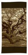 Angel Oak In Sepia Beach Towel