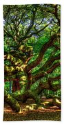 Angel Oak Morning Shadows Charleston South Carolina Beach Towel